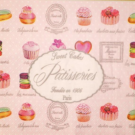 Serviettes Pâtisserie recto rose - Fêtes vous même