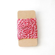 Ficelle coton bicolore Rouge Blanc - Fêtes vous même