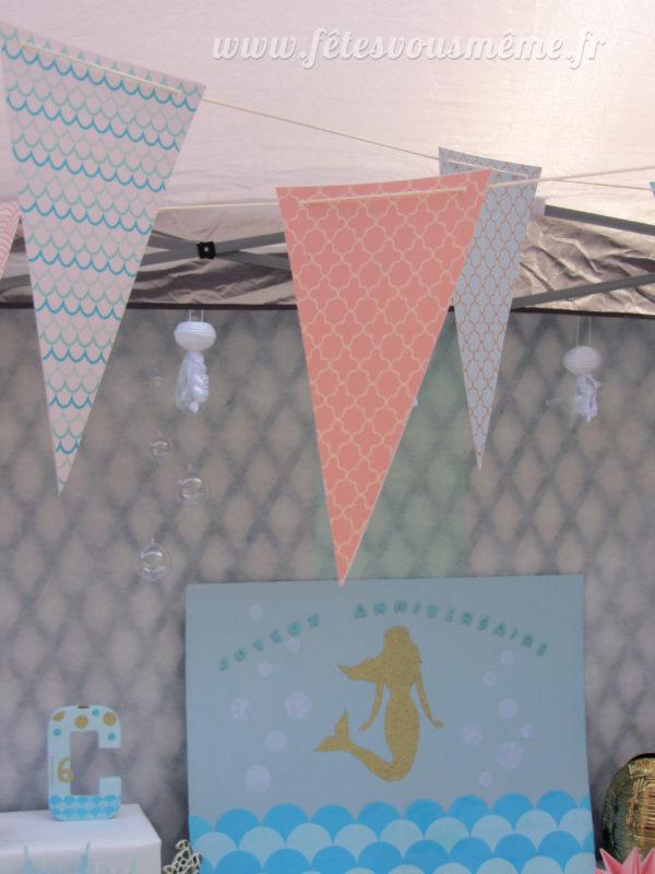 Kit anniversaire Sirène- Monde la mer - banderole - Fêtes vous même