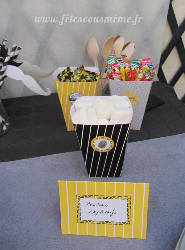 Kit anniversaire Agent Secret - Boite popcorn - Fêtes vous même