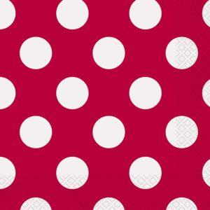 Serviettes rouges à pois blancs - Fêtes vous même