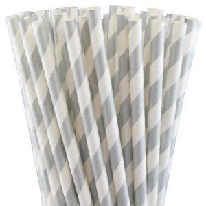 Pailles-retro-papier blanc-argent