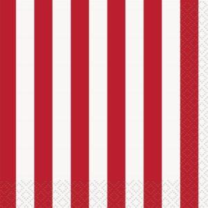 Serviettes rayures rouge-blanc