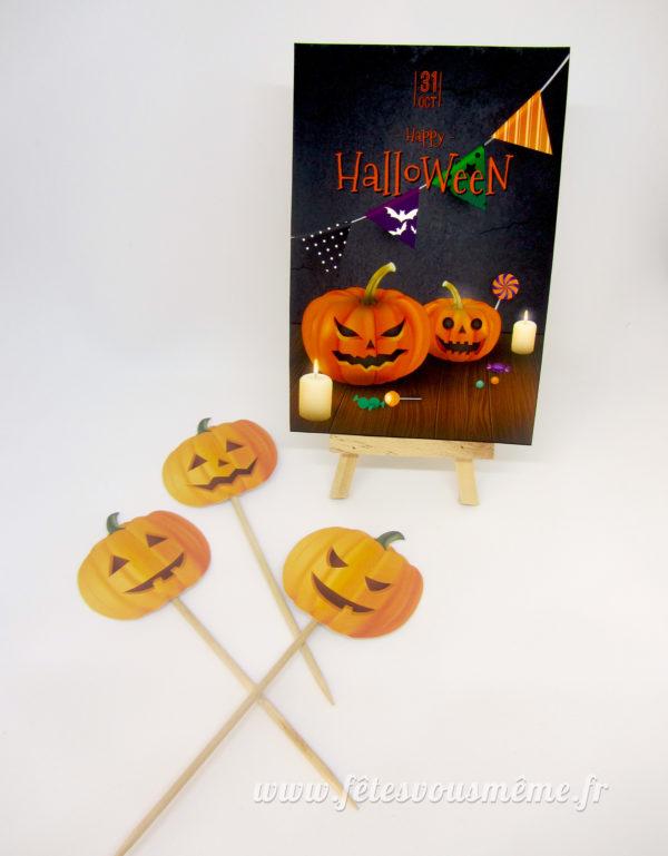 Pack Festif Halloween - Carte Halloween et piques citrouilles - Fêtes vous même